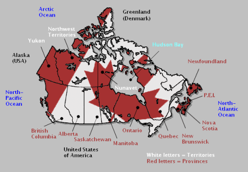Bodies Of Water Canada Map.Nature Scenery And Canada S Geography